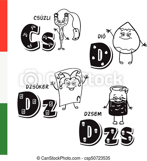 Hungarian alphabet. Slingshot, Walnut, Joker, Jam. Vector letters and characters. - csp50723535