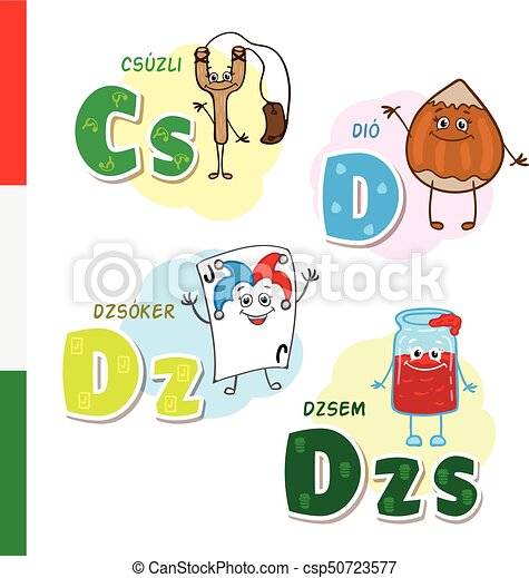 Hungarian alphabet. Slingshot, Walnut, Joker, Jam. Vector letters and characters. - csp50723577