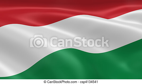 Hungarian flag in the wind - csp4134541