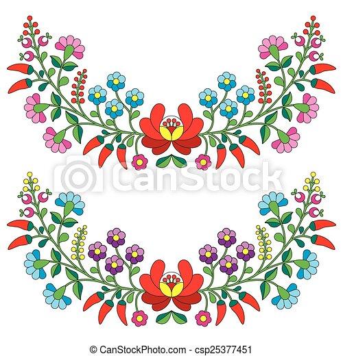 Hungarian floral folk pattern  - csp25377451