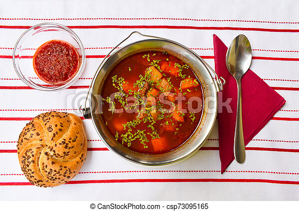 Hungarian Goulash Soup In A Small Metal Goulash Kettle Served Hungarian Home Made Goulash Soup From Above In A Small Metal Canstock