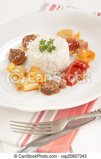 hungarian letcho with rice on a plate - csp20607343