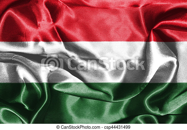 Hungarian National Flag Waving in the Wind 3D illustration - csp44431499