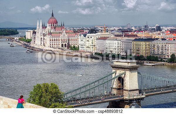 Hungarian parliament from Matthias church in Budapest - csp48893812