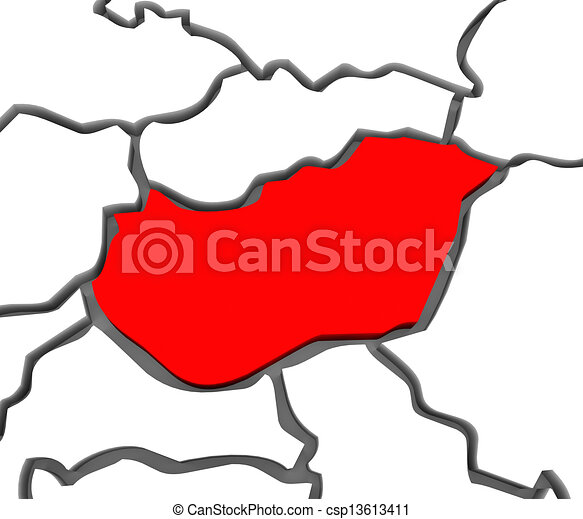 Hungary Country Abstract 3D Europe Continent Map - csp13613411