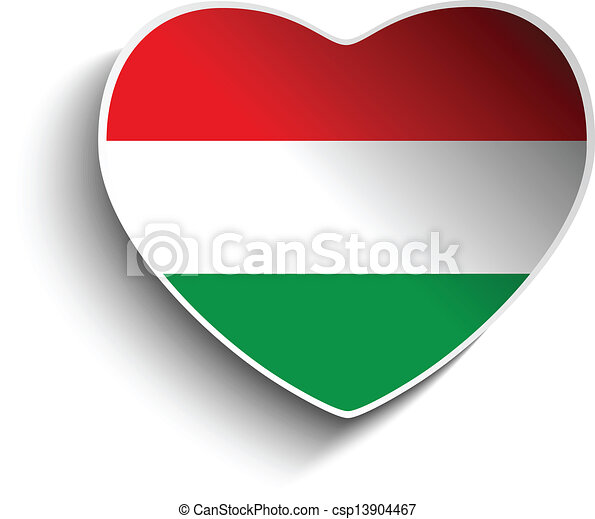 Hungary flag heart paper sticker csp13904467