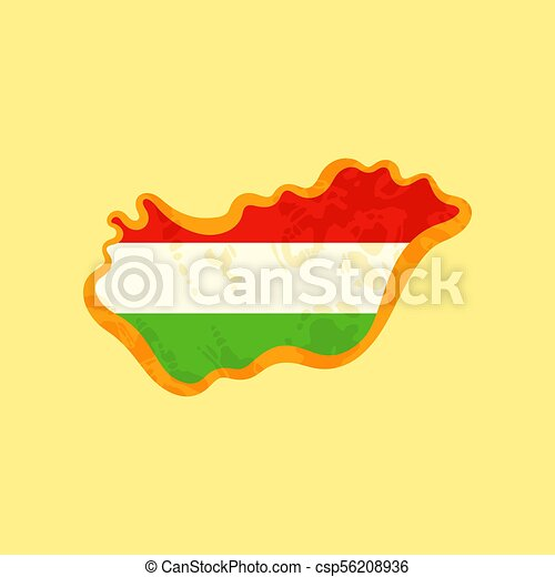 Hungary - Map colored with Hungarian flag - csp56208936