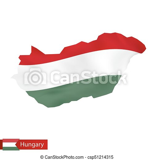 Hungary map with waving flag of Hungary. - csp51214315