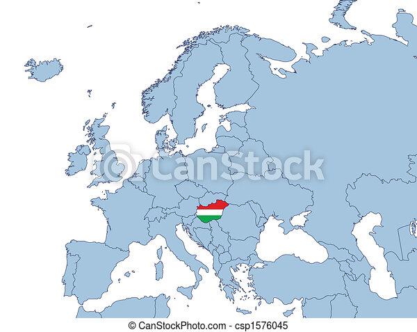 europa karta ungern Hungary on europe map illustration. europa karta ungern