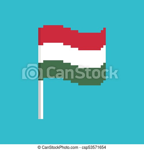Hungary Pixel flag  Pixelated banner Hungarian  political bit icon  Vector  illustration
