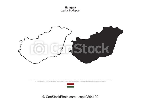 Hungary Political Map.Hungary Republic Of Hungary Isolated Map And Official Flag Icons
