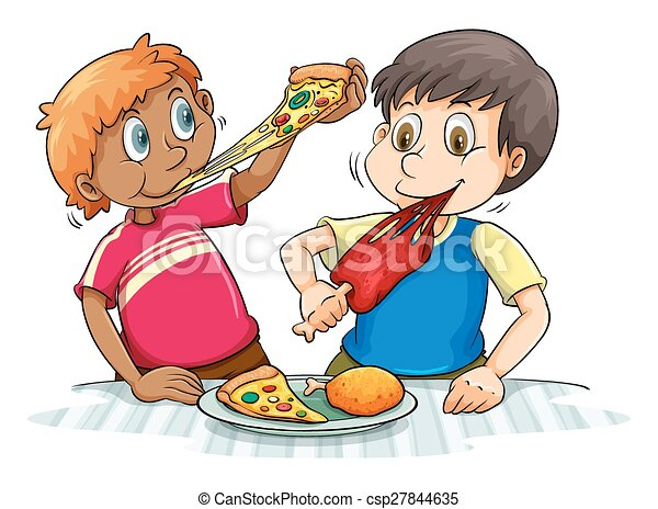 Cute boy eating pizza Royalty Free Vector Image