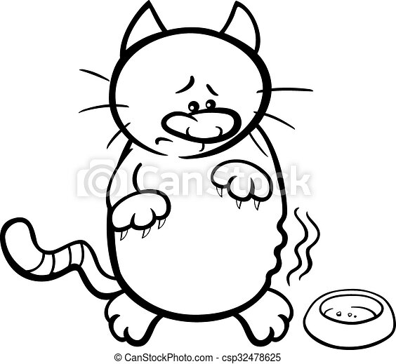 Hungry cat coloring book. Black and white cartoon illustration of ...