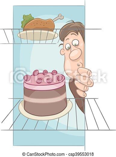 hungry man on diet cartoon - csp39553018