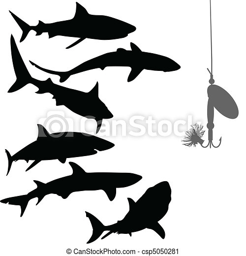 hungry sharks and bait vector silho - csp5050281
