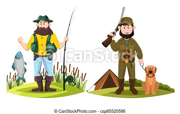 Hunter and fisherman. Hunt man and fisher with rod - csp65520586
