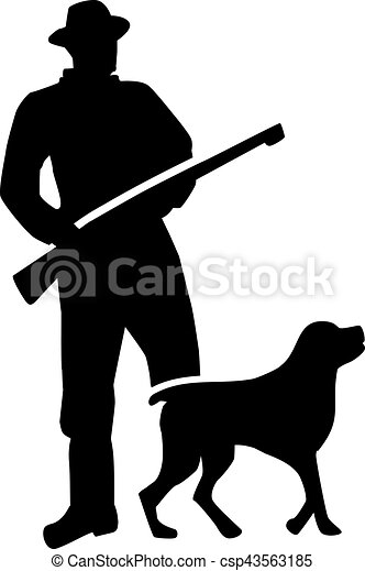 Hunter silhouette with dog - csp43563185