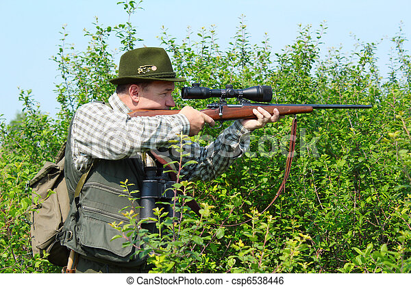 hunter with sniper rifle - csp6538446