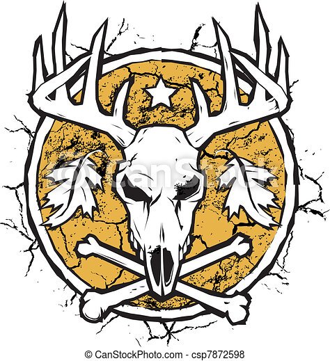 Drought Stricken Land With Deer Skull And Crossbones