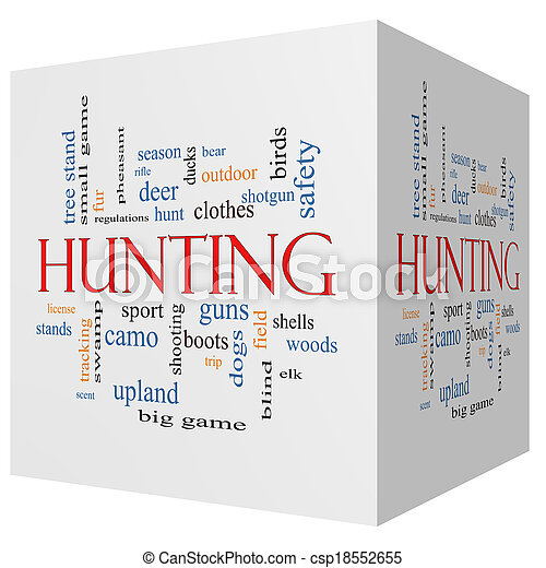 Hunting 3D cube Word Cloud Concept - csp18552655