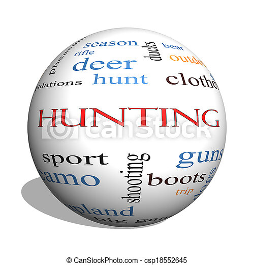 Hunting 3D sphere Word Cloud Concept - csp18552645