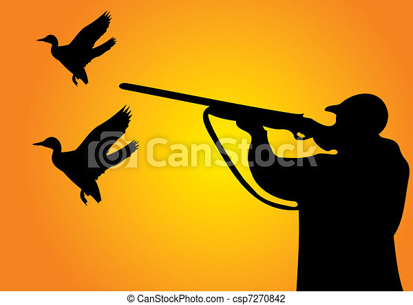 hunting at sunset duck hunting vector illustration search clipart rh canstockphoto com Duck Hunting Outline Duck Hunting Logos