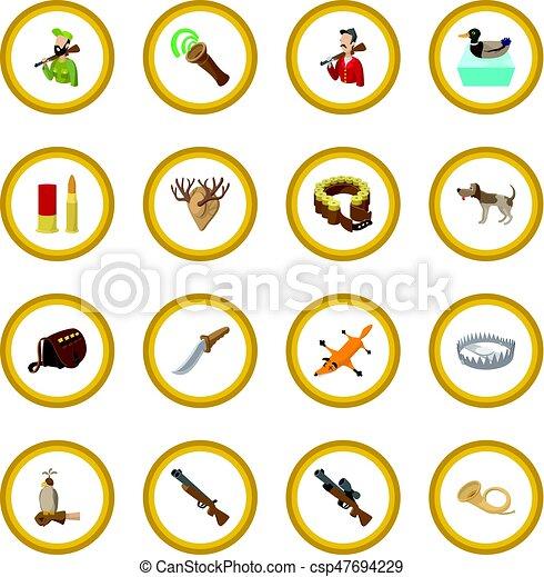 Hunting cartoon icon circle - csp47694229