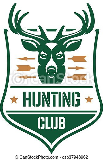 Hunting Club Heraldic Badge Design With Red Deer Hunting Club