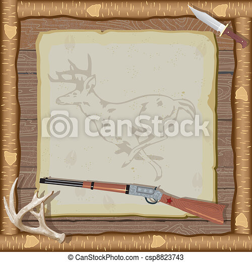 Hunting Invitation with wood frame - csp8823743