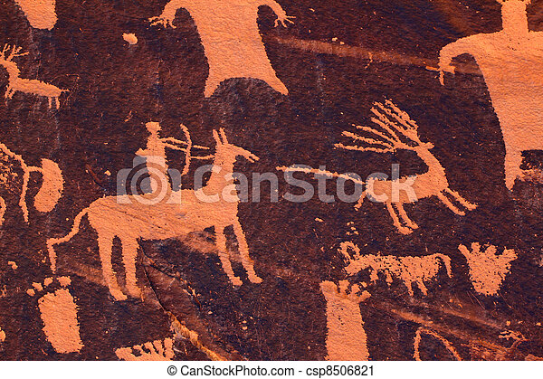 Hunting Petroglyph - Newspaper Rock - csp8506821