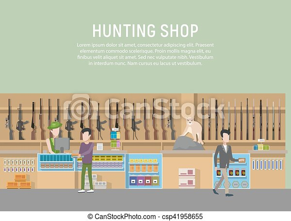 Hunting Shop Interior With Rifle And Gun Weapon Supermarket Or