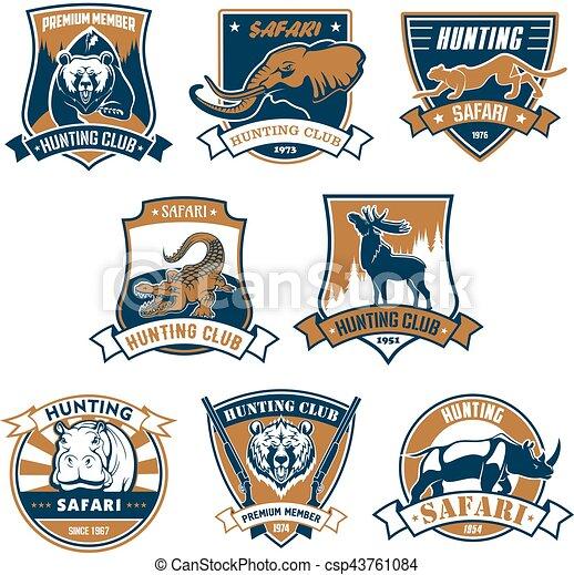 Hunting sport club vector icons, emblems set - csp43761084