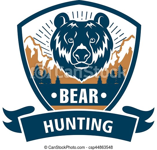 Hunting sport or hunter club, bear vector icon - csp44863548