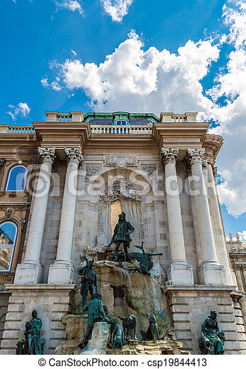 Hunting statue at the Royal palace, Budapest - csp19844413