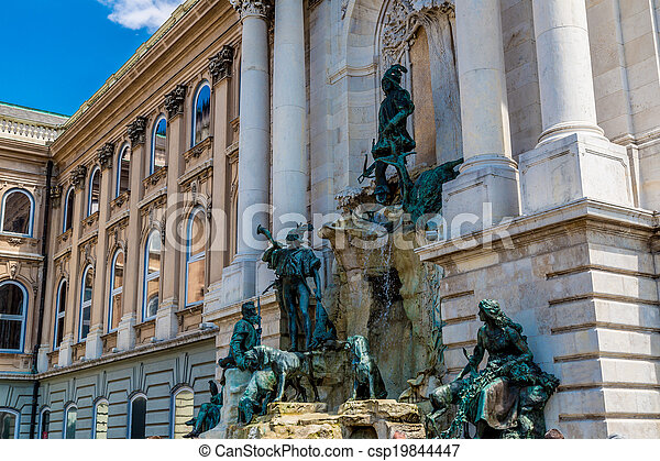 Hunting statue at the Royal palace, Budapest - csp19844447