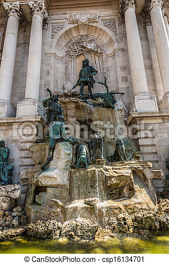 Hunting statue at the Royal palace, Budapest - csp16134701