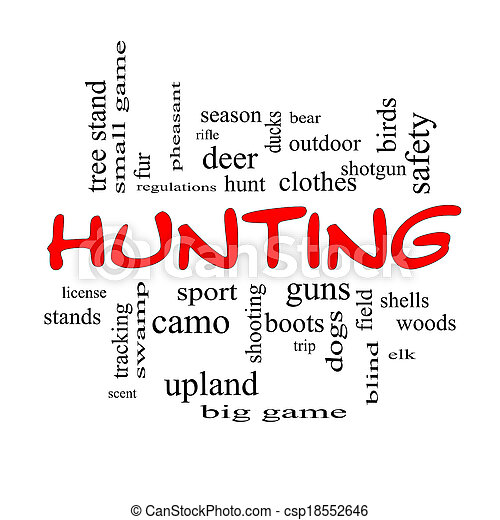 Hunting Word Cloud Concept in red caps - csp18552646