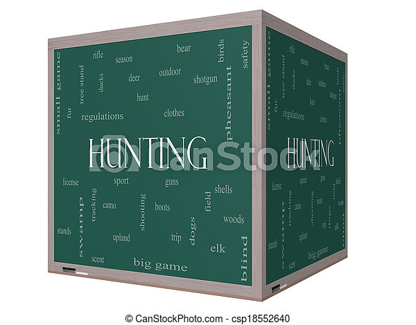 Hunting Word Cloud Concept on a 3D cube Blackboard - csp18552640