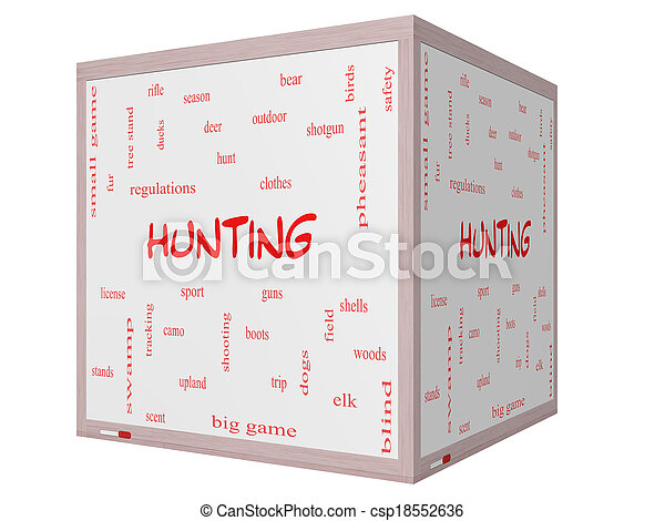 Hunting Word Cloud Concept on a 3D cube Whiteboard - csp18552636