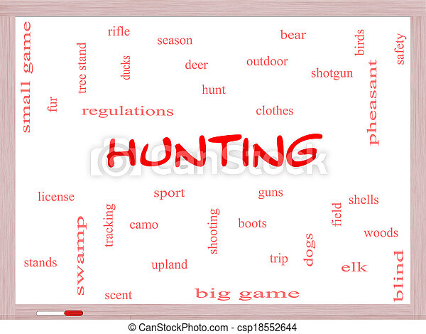 Hunting Word Cloud Concept on a Whiteboard - csp18552644
