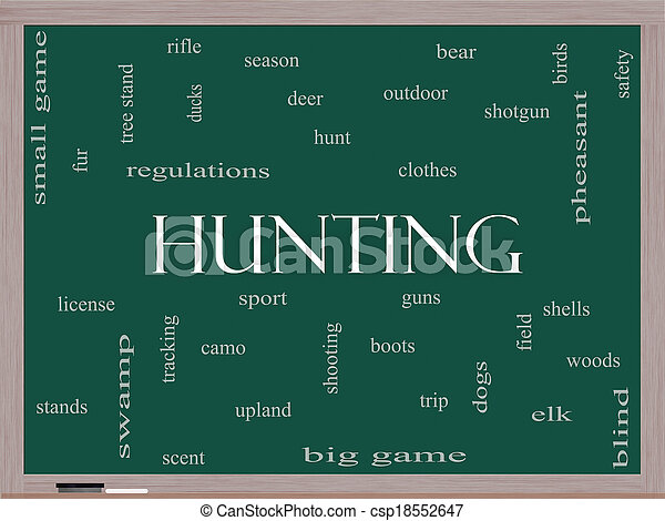 Hunting Word Cloud Concept on a Blackboard - csp18552647