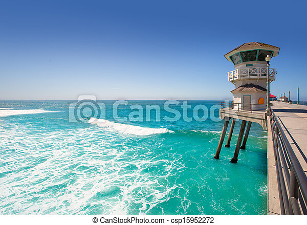 Huntington beach main lifeguard tower Surf City California - csp15952272