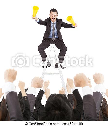hurlement, business, reussite, équipe, homme affaires, excité - csp18041189