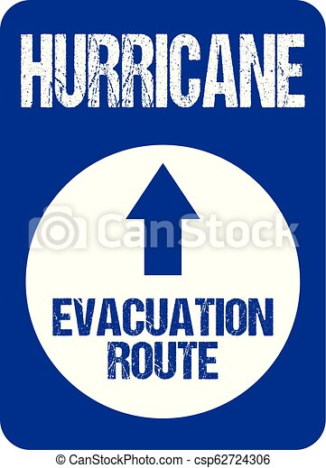 Hurricane Evacuation Route Road Sign Rough Letters Souvernire Collectors  Edition