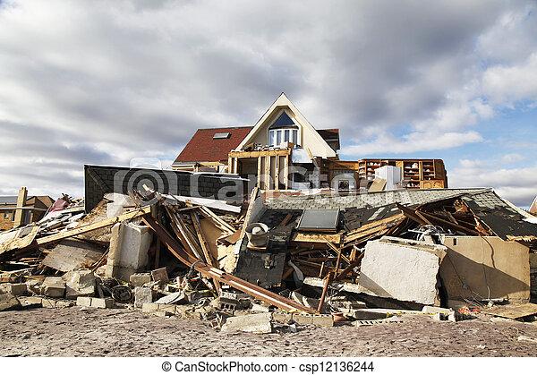 Hurricane Sandy destruction - csp12136244