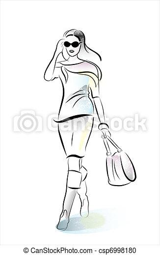 Una chica de compras con bolso - csp6998180