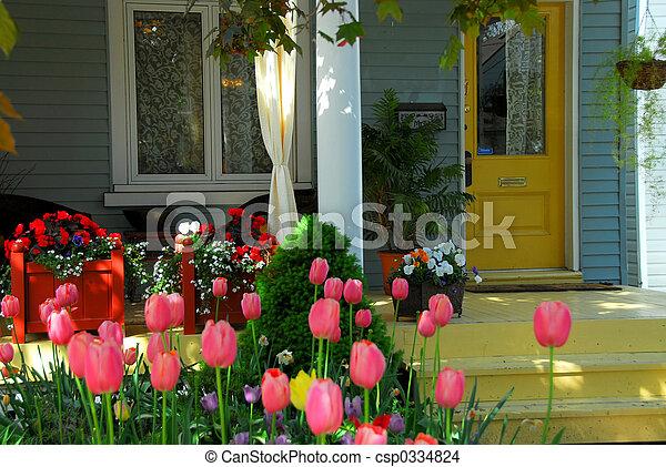 hus, blomningen, portal - csp0334824