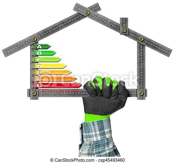 hus, energi, -, effektivitet, form, linjal - csp45493460