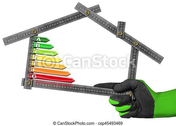 hus, energi, -, effektivitet, form, linjal - csp45493469