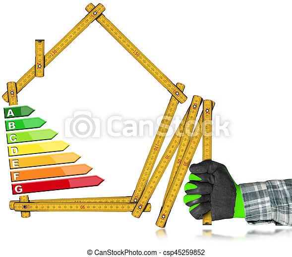 hus, energi, -, effektivitet, form, linjal - csp45259852